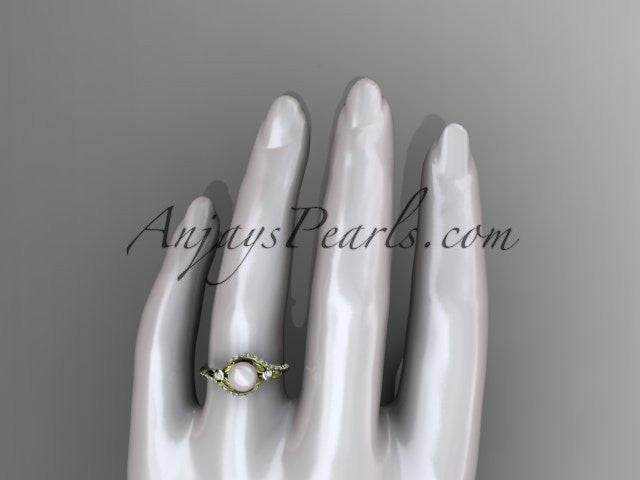 14k yellow gold diamond pearl vine and leaf engagement ring AP112 - AnjaysDesigns