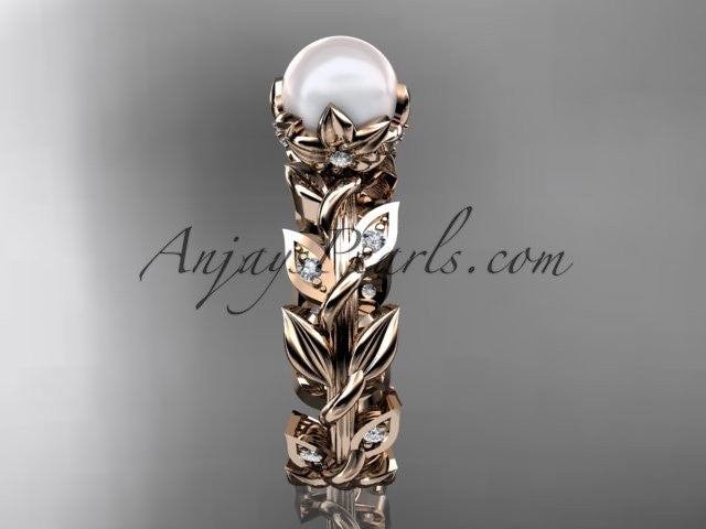 14k rose gold diamond pearl vine and leaf engagement ring AP124 - AnjaysDesigns