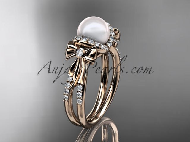 14k rose gold diamond pearl wedding ring,engagement ring AP155 - AnjaysDesigns