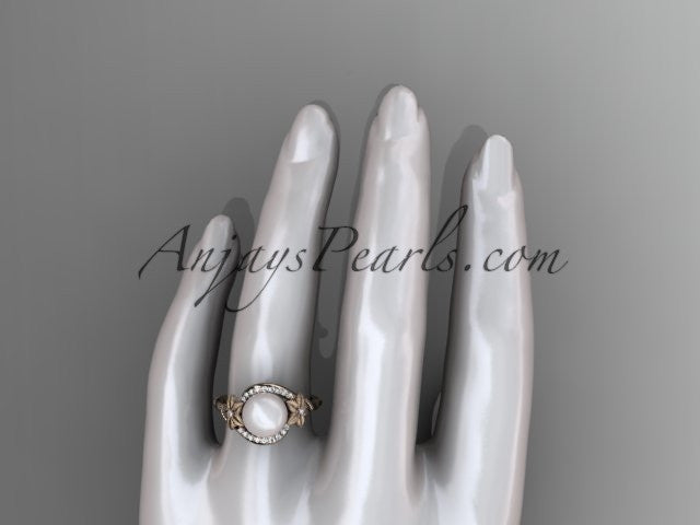 14k rose gold diamond leaf and vine, floral pearl wedding ring, engagement ring AP166 - AnjaysDesigns