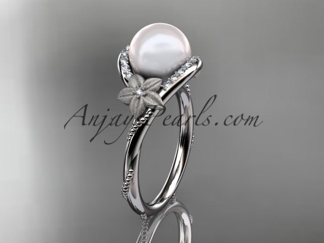 14k white gold diamond leaf and vine, floral pearl wedding ring, engagement ring AP166 - AnjaysDesigns