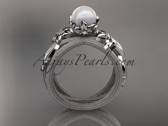 unique platinum diamond leaf and vine pearl engagement ring ap253 anjaysdesigns - Pearl Wedding Ring