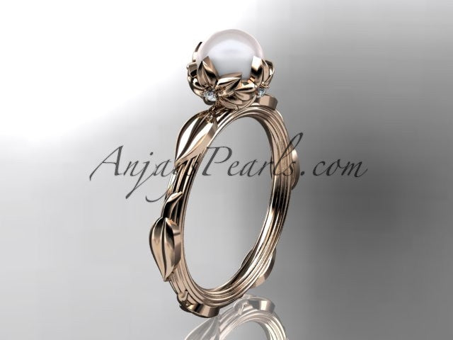 14k rose gold diamond pearl vine and leaf engagement ring AP290 - AnjaysDesigns