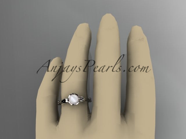 14k white gold diamond pearl vine and leaf engagement ring AP290 - AnjaysDesigns