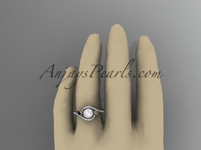 14k white gold diamond leaf and vine, pearl wedding ring, engagement ring AP317 - AnjaysDesigns