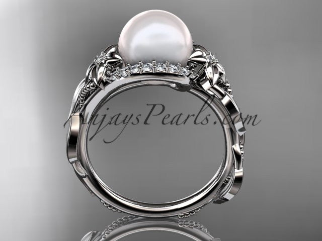 14kt white gold diamond pearl unique engagement ring AP326 - AnjaysDesigns