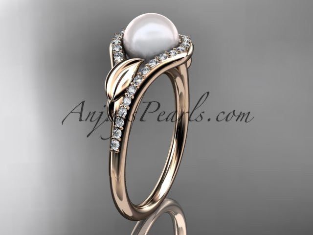 14k rose gold diamond pearl leaf engagement ring AP334 - AnjaysDesigns