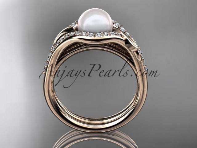 14k rose gold diamond pearl leaf engagement set AP334S - AnjaysDesigns
