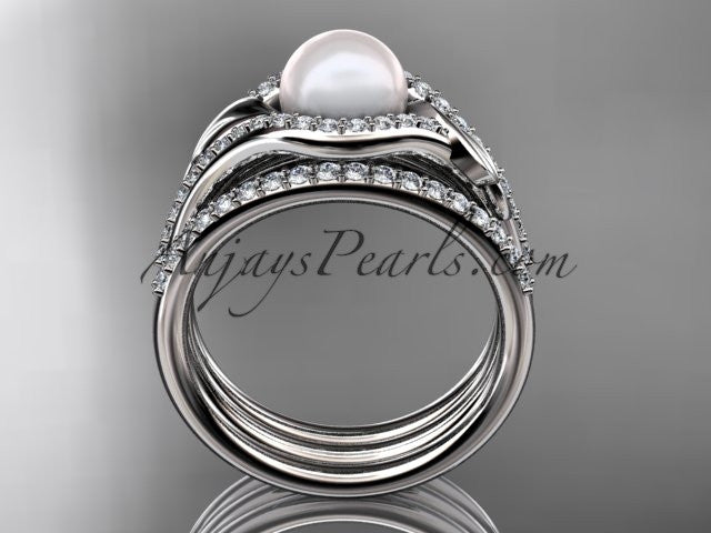 14k white gold diamond pearl leaf engagement ring with a double matching band AP334S - AnjaysDesigns