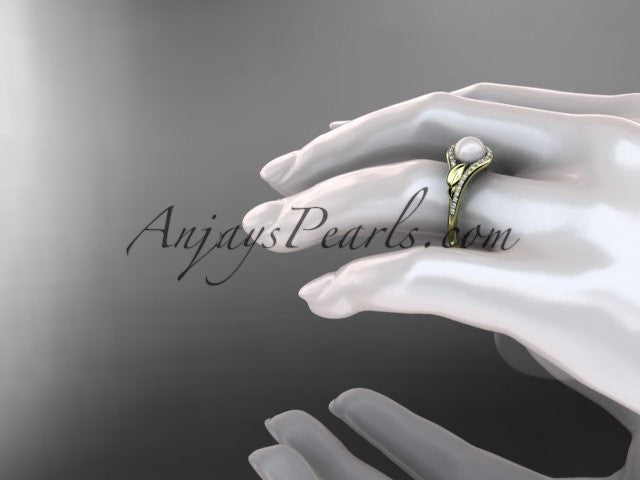 14k yellow gold diamond pearl leaf engagement ring AP334 - AnjaysDesigns
