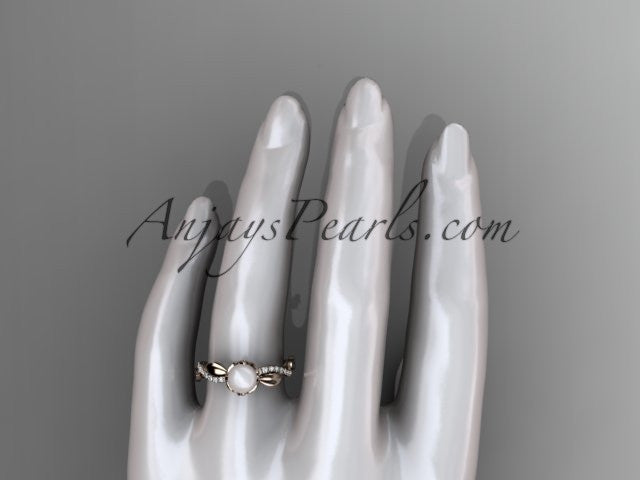 14k rose gold diamond pearl leaf engagement ring AP385 - AnjaysDesigns