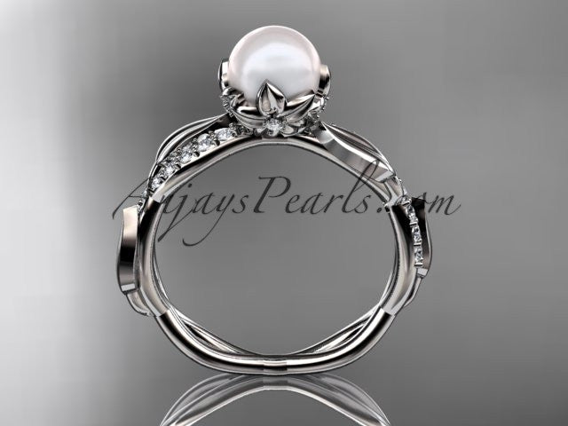 14k white gold diamond pearl leaf engagement ring AP385 - AnjaysDesigns