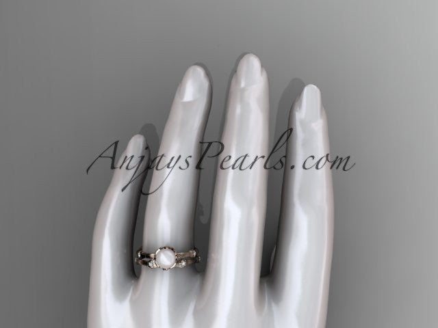 14k rose gold diamond pearl vine and leaf engagement set AP38S - AnjaysDesigns