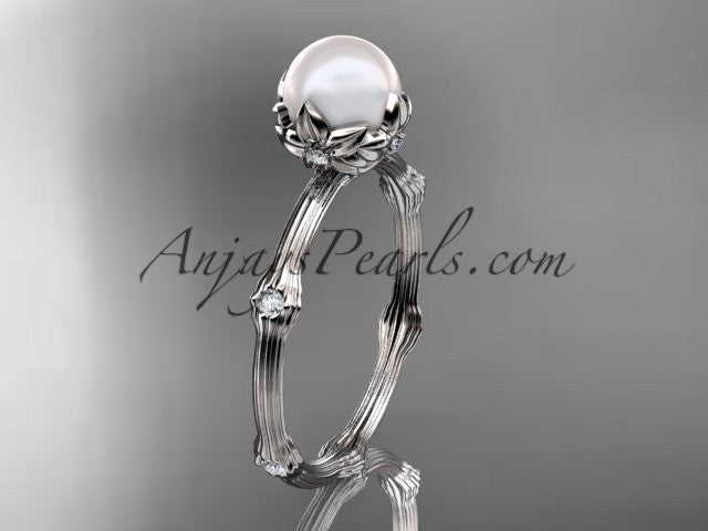 14k white gold diamond pearl vine and leaf engagement ring AP38 - AnjaysDesigns