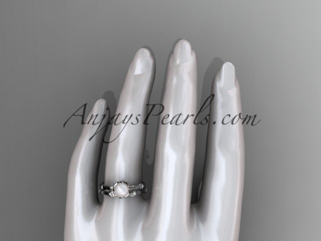 14k white gold diamond pearl vine and leaf engagement set AP38S - AnjaysDesigns