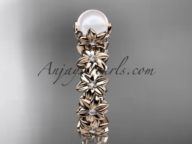 14k rose gold diamond pearl vine and leaf engagement ring AP57 - AnjaysDesigns