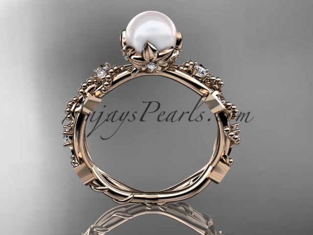 14k rose gold diamond pearl vine and leaf engagement ring AP59 - AnjaysDesigns