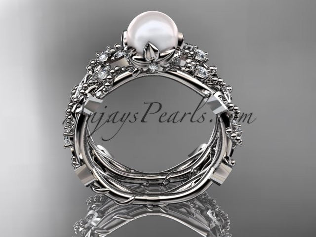 14k white gold diamond pearl vine and leaf engagement ring AP59S - AnjaysDesigns