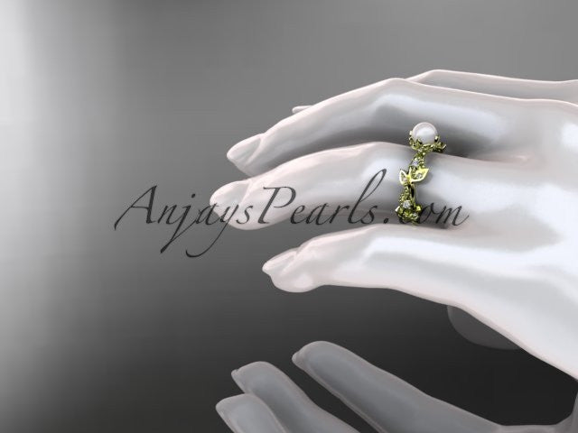 14k yellow gold diamond pearl vine and leaf engagement ring AP59 - AnjaysDesigns