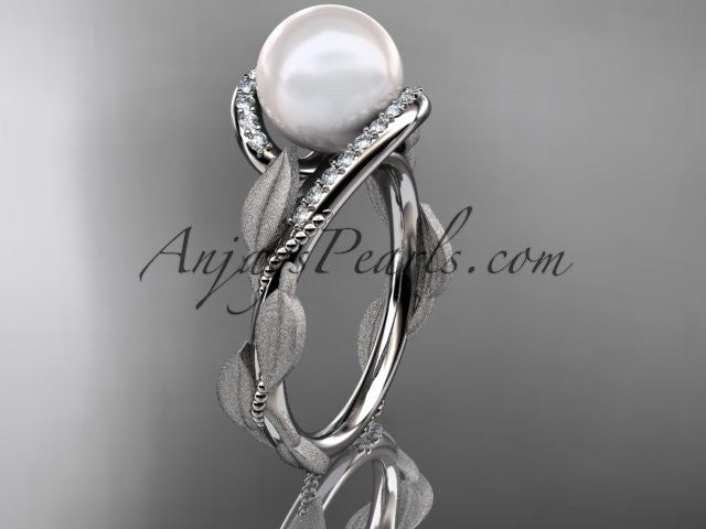 14k white gold diamond pearl vine and leaf engagement ring AP64 - AnjaysDesigns
