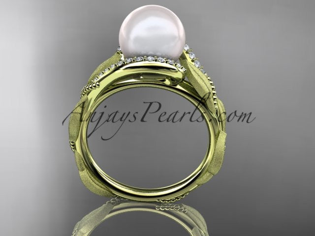 14k yellow gold diamond pearl vine and leaf engagement ring AP64 - AnjaysDesigns