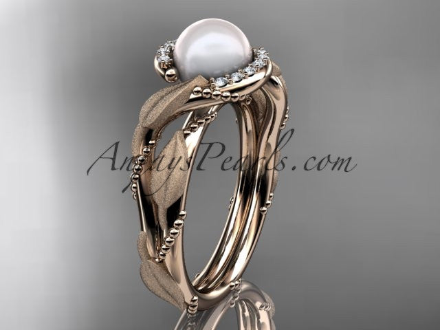 14k rose gold diamond pearl vine and leaf engagement ring AP65 - AnjaysDesigns