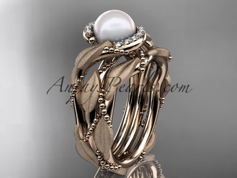 14k rose gold diamond pearl vine and leaf engagement set AP65S - AnjaysDesigns