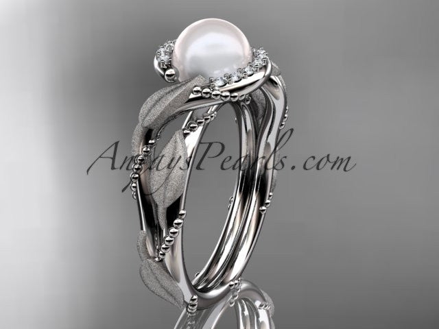 14k white gold diamond pearl vine and leaf engagement ring AP65 - AnjaysDesigns