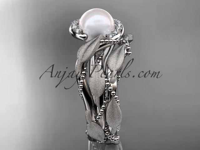 14k white gold diamond pearl vine and leaf engagement set AP65S - AnjaysDesigns