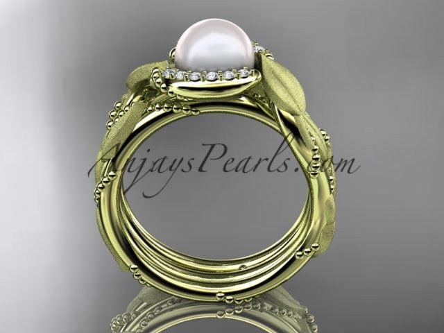 14k yellow gold diamond pearl vine and leaf engagement set AP65S - AnjaysDesigns