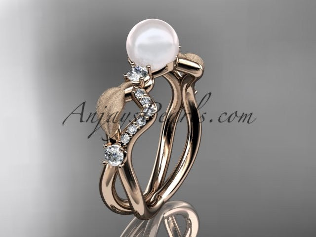 14k rose gold diamond pearl vine and leaf engagement ring AP68 - AnjaysDesigns