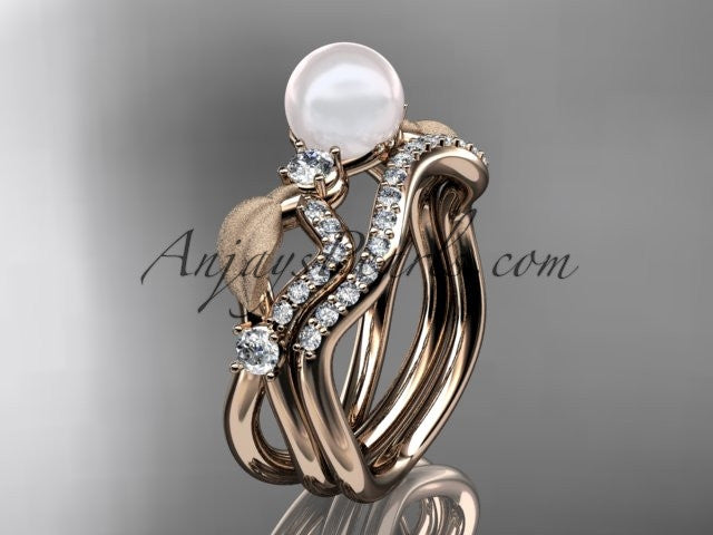 14k rose gold diamond pearl leaf engagement set AP68S - AnjaysDesigns