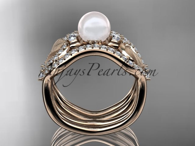 14k rose gold diamond pearl leaf engagement ring with double matching band AP68S - AnjaysDesigns