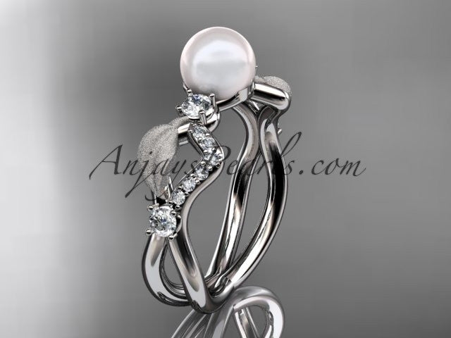 14k white gold diamond pearl vine and leaf engagement ring AP68 - AnjaysDesigns