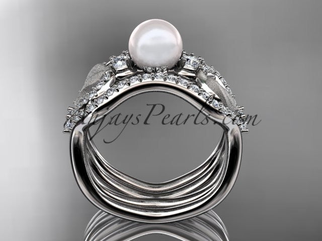 14k white gold diamond pearl leaf engagement ring with double matching band AP68S - AnjaysDesigns