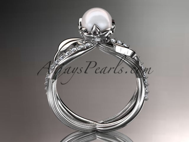 14k white gold diamond pearl vine and leaf engagement ring AP70 - AnjaysDesigns