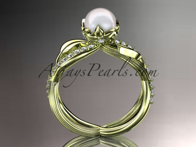 14k yellow gold diamond pearl vine and leaf engagement ring AP70 - AnjaysDesigns