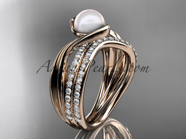 14k rose gold diamond pearl engagement set AP78S - AnjaysDesigns
