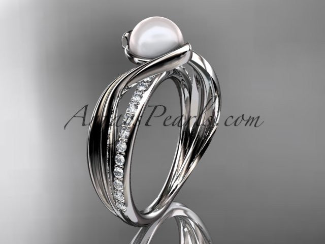 14k white gold diamond pearl vine and leaf engagement ring AP78 - AnjaysDesigns