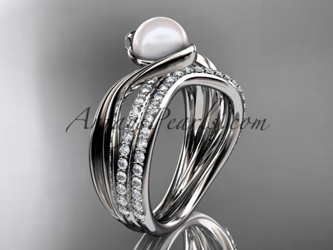 14k white gold diamond pearl engagement set AP78S - AnjaysDesigns