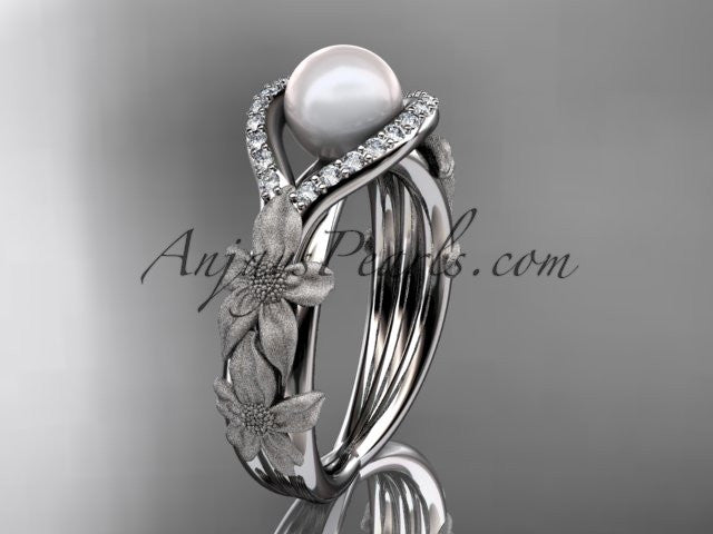 14k white gold diamond pearl vine and leaf engagement ring AP85 - AnjaysDesigns