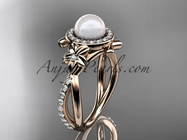 14k rose gold diamond pearl vine and leaf engagement ring AP89 - AnjaysDesigns
