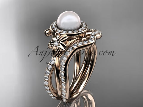 14k rose gold diamond pearl vine and leaf engagement set AP89S - AnjaysDesigns
