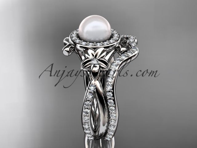 14k white gold diamond pearl vine and leaf engagement set AP89S - AnjaysDesigns