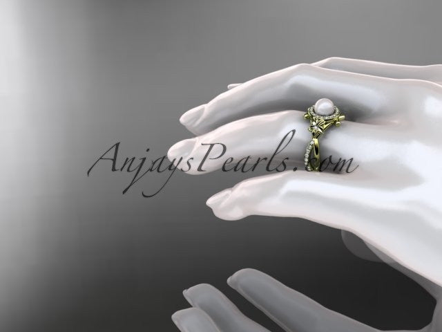 14k yellow gold diamond pearl vine and leaf engagement ring AP89 - AnjaysDesigns