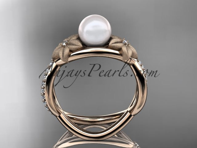 14k rose gold diamond pearl vine and leaf engagement ring AP90 - AnjaysDesigns