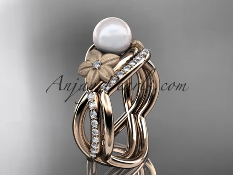 14k rose gold diamond pearl vine and leaf engagement set AP90S - AnjaysDesigns