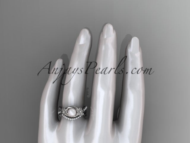 14k white gold diamond pearl vine and leaf engagement set AP90S - AnjaysDesigns