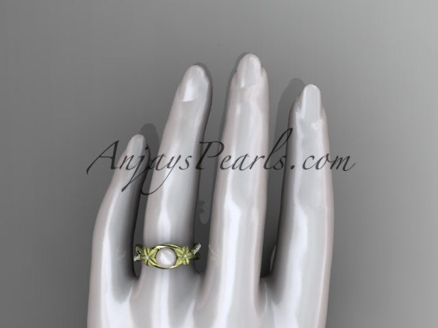14k yellow gold diamond pearl vine and leaf engagement ring AP90 - AnjaysDesigns
