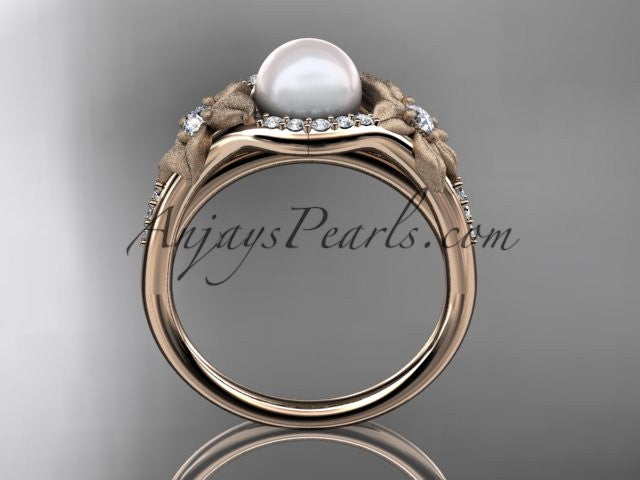 14k rose gold diamond pearl vine and leaf engagement ring AP91 - AnjaysDesigns